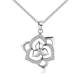 Wholesale Gemstone 925 Silver Pendant Jewelry - For women 925 sterling silver fashion Charm pendant pretty cute noble Crystal gemstone wedding Necklace jewelry N502