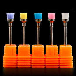 Wholesale Nail File Brush - Good 1pc Random Color Electric Nail Art Drill Cleaning Brush 3 32'' Files Bit Cleaning Tools Manicure Drills Accessories