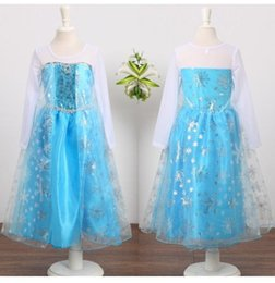 Wholesale Girls Guaze - .Wholesale - pre-order frozen princess clothing girls guaze dress frozen princess party dress frozen elsa snow queen costume dress LY-423
