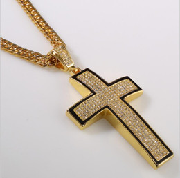 Wholesale cross 24k gold necklace chain - New 2014 Hip Hop 24K Gold Silver Rapper Vintage Crystal Cross Pendant Necklace Chain Men Jewelry Necklaces&Pendants Accessories