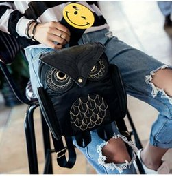 Wholesale European Owls - Designer Fashion Women 3D Printing OWL Backpack PU Leather Owl Animal Student Shoulder School Bags For Teenagers Girls Black Bag Gifts New