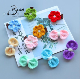 Wholesale Little Girls Hair Bows - 10 styles Kids hair accessories little girl Bow Flower boutique Hair Toddler barrettes Handmade Hand Crocheted flower children's headgear