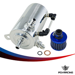Wholesale Fuel Tank Fittings - PQY RAICNG-0.5L Polished Oil Catch Can Breather Tank With AN6 6AN Inlets Fitting and Blue Breather Filter PQY-TKAN06SLBL