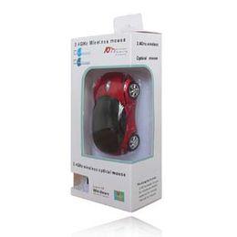 Wholesale Mice Shape Usb - 5Pcs 2.4GHz USB Receiver Sports Car Shape Wireless Optical Mouse Cartoon Mice for Laptop PC Factory Wholesale