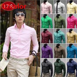 17 cores Mens Slim fit Único decote elegante vestido dos homens de manga  longa camisas Mens camisas de vestido tamanho  M-XXXL A009 6d56e2ace621c