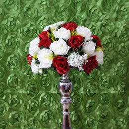 Wholesale Dark Red Artificial Flowers - 10pcs lot white and dark red wedding road lead artificial flowers wedding table flowers,table centerpiece flower balls decorati