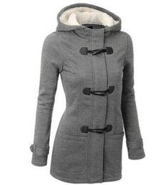 Wholesale Green Trench Coats - Women Trench Coat 2017 Winter Autumn Women's Overcoat Female Long Hooded Coat Zipper Horn Button Outwear