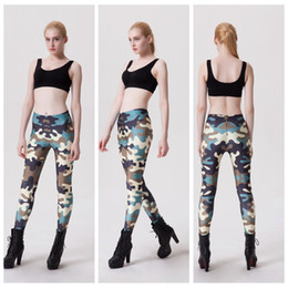 Wholesale Women Pink Camo Pants - Camo Sports Pants Green Slim Fitness Summer Yoga Leggings Quick-Drying Exercise Fitness Long Trousers Sports Sweat Elastic Capris LNSLgs