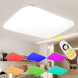 Wholesale Dimmable Led Light Fixtures - LED Ceiling Lights Lamp Luminaria Ceiling Light With Remote Control Dimmable Color And RGB Changing Fixtures Lustre Plafonnier
