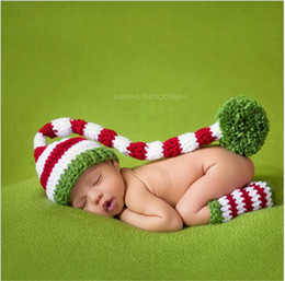 Wholesale Newborn Elf Hats - Baby Christmas Hat Green Red Crochet Baby Boy Girl Elf Long Tail Pom-Pom Hat Party Costum Newborn Caps Props Crochet Hats Kids Winter Hat