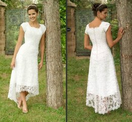 Wholesale Cheap High Low Beach Dresses - Dresses Long 2016 High Quality Sexy Lace Square Cheap High-low Beach Wedding Dresses Robe De Mariage Wedding Party Gowns