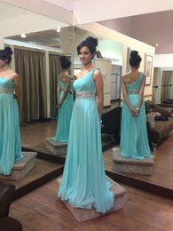 Wholesale Aqua Chiffon Evening Gowns - Elegant Aqua Blue One shoulder Evening Dresses Gowns 2018 Chiffon Boho Style Crystals Ribbon Ruched Zipper Back Prom Pageant Dress