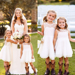 Wholesale Cheap Mini Christmas Lights - 2016 Cheap Flower Girls Dresses for Weddings Lovely Sheer Lace Jewel Neck Cute White A-Line Short Formal Party Gowns for Kids Fast Shipping