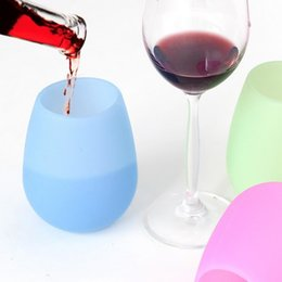 Canada Verre à vin en silicone verre à vin rouge sans tige incassable bière bouteille bouteilles d'eau douce tasse en verre en verre tasses de vin JU145 cheap soft water bottles Offre