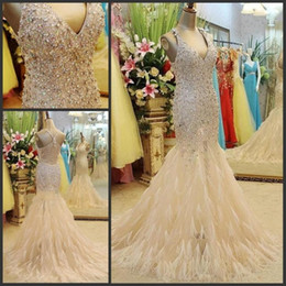 Wholesale Long Ruched Halter Gown - Luxury Crystal Prom Dresses 2016 Long With Feather Mermaid Champagne Sparkle Formal Evening Gowns Halter Sleeveless Beaded Party Vestido New