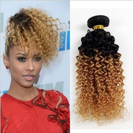 Wholesale Kinky Hair Extensions Sale - New Sale Two Tone Colored 1B 27 Honey Blonde Dark Root Ombre Kinky Curly Mongolian Human Hair Weave Weft Extensions 3 Bundles Lot
