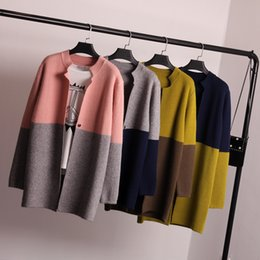 Wholesale Poncho Tricot - Wholesale- 2016 Autumn Winter Full Sleeve Color Patchwork Long Jumper Cardigans Women Sweater Crochet Knitwear Mujer Oversize Poncho Tricot