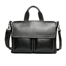 Wholesale Genuine Leather Bag For Mens - Wholesale- New fashion man handbag Business Men's genuine large leather briefcases luxury brand mens shoulder bag for laptop computer bag
