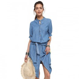 Wholesale Stand Up Collar Shirts - New Stand Collar Lace-Up Dress Cultivate One's Morality Waist Dress Denim Folds Dress Female cotton Solid Color Dress HI-LO