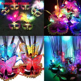 Wholesale Wholesale Mardi Gras Feathered Masks - 2016 fashion mask gold shining led party feather mask wedding props halloween masquerade mardi gras mask mix color