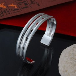 Wholesale Mens Sterling Bracelets - Factory direct wholesale 925 sterling silver braid line of double Bangle Bracelet Fashion Silver Bracelet mens bracelet