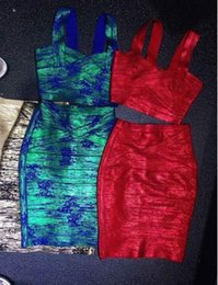 Wholesale Sexy Club Dresses Metallic - 2015 New red green metallic 2 two piece set Bandage Dress Sexy deep V-neck celebrity Party elegant bodycon knee-length Dress