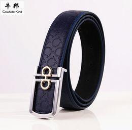 Wholesale Kind Girls - 2pcs lot Cowhide Kind U8 imprint Leather belt Men Women Student Teen Girls Boys universal belt Korean wild belt