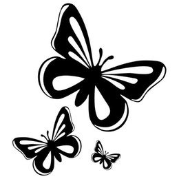 Wholesale Butterfly Rearing - cute butterfly pattern vinly car stickers animal fashion decal black silver 15.2*17cm