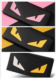 Wholesale Pink Eye Photos - High Quality Fashion lovely long wallet pink yellow two-color eye lovely holding purse PU leather 13 card position