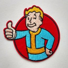 Wholesale Rock Band Patches - Fallout Vault Boy Iron On Sew Patch Appliqué Badge Embroidered Biker Band Rock Punk Cartoon Shirt Kids Toy Gift baby Decorate