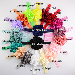 Wholesale Girl Hair Flower Elastic - 20 Color Baby Lace flower Headbands NEW Girls Cute Hair Band Infant Lovely Headwrap Children Bowknot Elastic Accessories B001