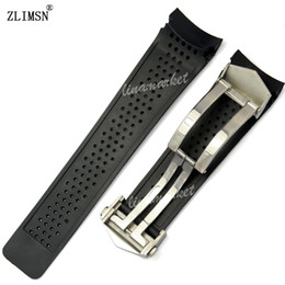 Wholesale 22mm silicone band - Watch Band ZLIMSN Sport Watch Bands 22mm 24mm Watchbands Black Diving Silicone Rubber Holes Watch Band Strap Black Golden Watchbands