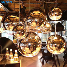 Wholesale E27 Ball - 15cm 20cm 25cm 40cm 50cm Tom Dixon Mirror Ball Light Pendant Lamp E27 Bulb Plated glass ball pendant light indoor lighting bar stair