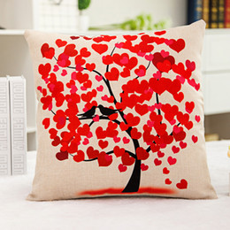 Wholesale composite case - 1x Vintage Composite Linen Pillow Case Sofa Cushion Cover Red heart and bird tree 42x42cm