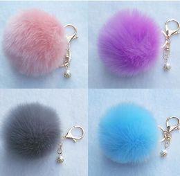 Wholesale Wholesale Pearl Keychain - 8cm Faux Rabbit Fur Ball Pompon Keychain Trinket Fluffy Pom Pom Pearl Keychain Lady Keyring Holder Bag Pendant CCA7833 100pcs