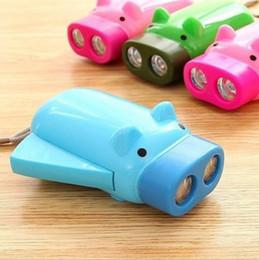 Lampes de poche Dynamo Manuel Pressing Power 2 LED Protable Pig en forme de bande dessinée Torche Lumière Crank Power Wind Up pour lampe de camping ? partir de fabricateur