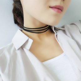 Wholesale Vintage Gothic - Vintage Gothic Leather Choker Fashion Simple 3 layered Collar Necklace for women collier Bijoux Gothic Chain Charms