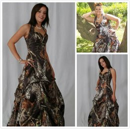 Wholesale Camo Evening Gowns - Cheap Camo Long Evening Dresses Halter Sleeveless Ball Gown Floor Length Camouflage Bridesmaids Dress Special Occasion Events Party Gowns
