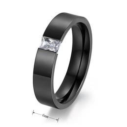 Wholesale Titanium Zircon Rings - Tension Setting Square Zircon Rings for Men Women Gold Black Color Titanium Steel Ring for Parties