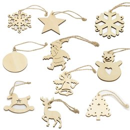 Wholesale Wooden Tree Decor - Christmas Decor Laser Cut Wooden Snowflake Cutouts Bell Deerlet Snowman Craft Embellishment Christmas Tree Hanging Ornaments DIY Handmade