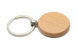 Círculo en blanco Círculo de cadena de madera 1.25 '' Llaveros 50X / lot Llavero de grabado gratuito KW01Y desde fabricantes