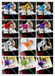 Wholesale Plastic Mask Side Flower - Masquerade Party plastic Masks On stick with cloth lace and side Flower masks for Masquerade Ball Black White colorful party Masks