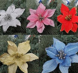 Wholesale Pink Artificial Christmas Trees - Artificial Shiny Flowers for Xmas Tree Decor,Multi Color Poinsettia Flower for Christmas Wedding Party Decoration Festive Party Supplies