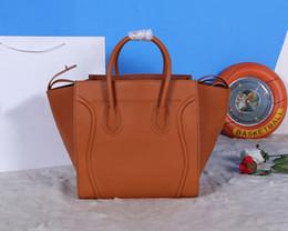 Wholesale Brown Leather Luggage - hot sale Designers Brand TOP QUALITY khaki Original Smooth Calfskin Women Smiley Bag Luggage Phantom Tote Bag Size:30x28x24 cm