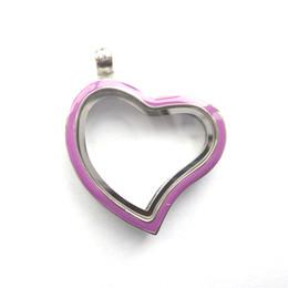 Wholesale Locket Bohemian Enamel - silver 30MM curved heart memory locket with purple enamel , Material: Zinc Alloy , Color: Sliver, MOQ:10 pcs