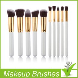 Wholesale Pink Kabuki - Professional Premium Synthetic Kabuki 10 PCS Cosmetic Facial Make up Brush Tools Wool Makeup Brushes Set Kit