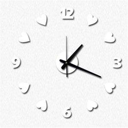 Wholesale Love Wall Watches - Free Shipping wholesale Creative love heart wall clock fashion wall sticker countryside art clock creative DIY wall clock hanging watch