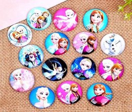 Wholesale Cabochons Kids - new Frozen Anna and Elsa Mixed Round 20mm Glass Domed Cabochons Flatbacks for Kids Jewelry Craft