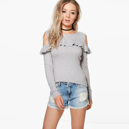 Wholesale Pink Ruffle Sweater - 2017091918 Autumn Women New Fashion Pink Sweater Casual Solid Gray Cold Shoulder Ladies Tops Brief Ruffles Lady Pullovers