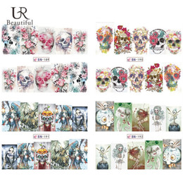 Wholesale Halloween Nail Stickers Skull - Wholesale- 1Sheet Nail Art Stickers HOT Halloween Style Skull Pattern Water Transfer Full Wraps Nail Tips Decals Manicure Decor BN189-192